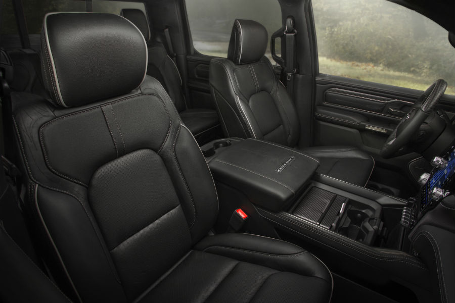 A photo of the front seats in the 2020 Ram 1500.
