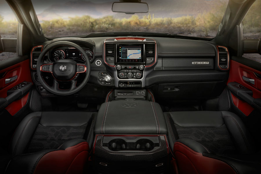A photo of the front and passenger seats in the 2020 Ram 1500.