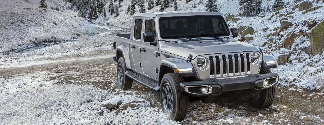 A front-end photo of the 2020 Jeep Gladiator North Edition parked in the store.