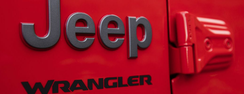 A photo of the Jeep Wrangler badges worn on the 2020 Jeep Wrangler.