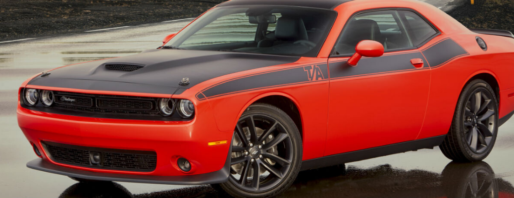 Red 2020 Dodge Challenger with satin black hood