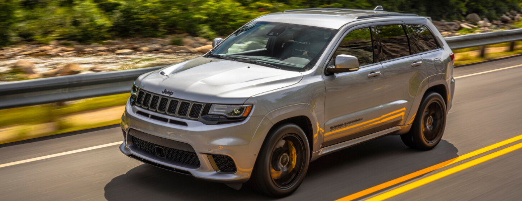 Grey 2020 Jeep Grand Cherokee Trackhawk on the road