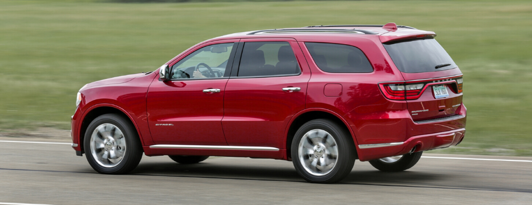 Side view of red 2020 Dodge Durango Citadel AWD