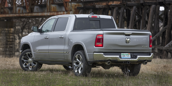 Rear view of silver 2020 Ram 1500 Limited