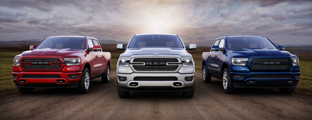 Red, white and blue 2020 Ram 1500 Laramie Southwest Edition models