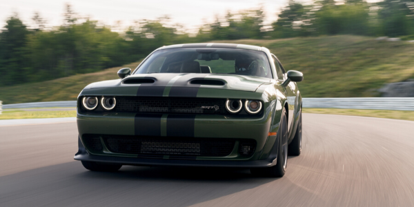 Front view of green 2020 Dodge Challenger SRT Hellcat Redeye Widebody with black rally stripe