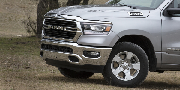 Closeup of silver 2020 Ram 1500 Big Horn front end