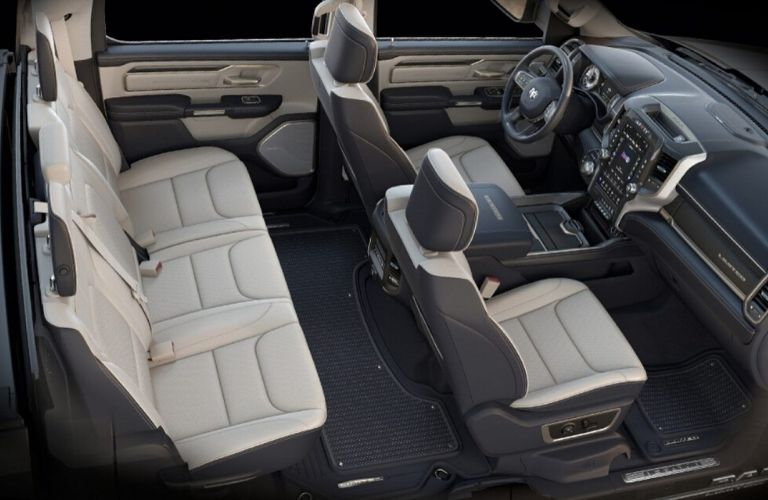 Interior view of the Plus Leather seating available inside a 2020 RAM 1500