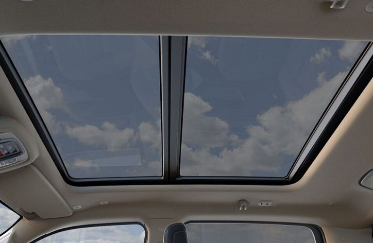 Interior view of the Dual-Pane Panoramic Sunroof inside a 2020 RAM 1500