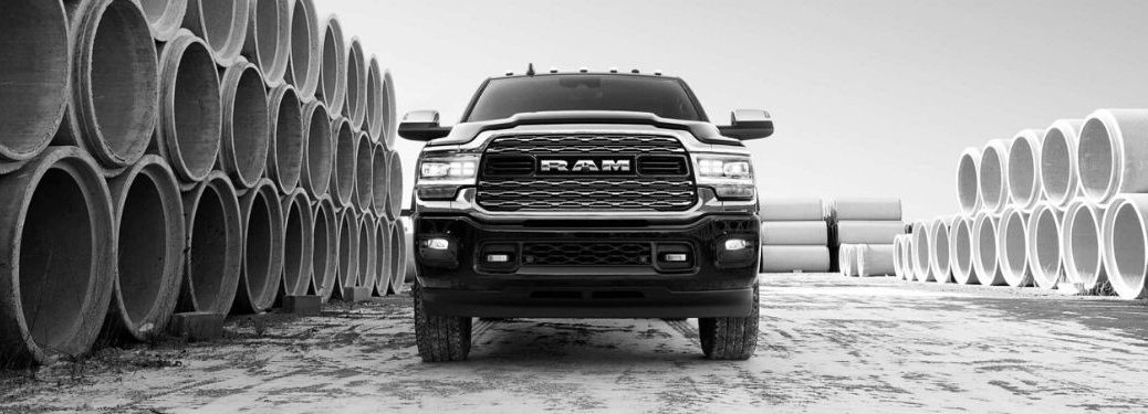 Black and White Photo of 2020 Ram 2500 at a Jobsite