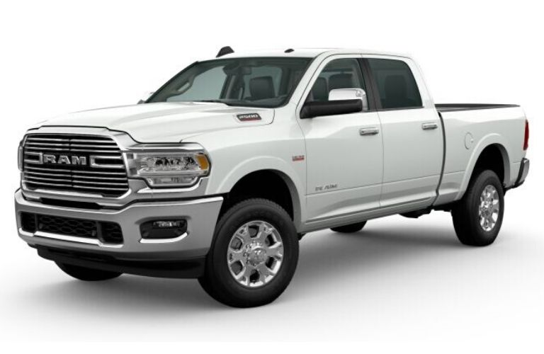 Bright White 2020 Ram 2500 on White Background