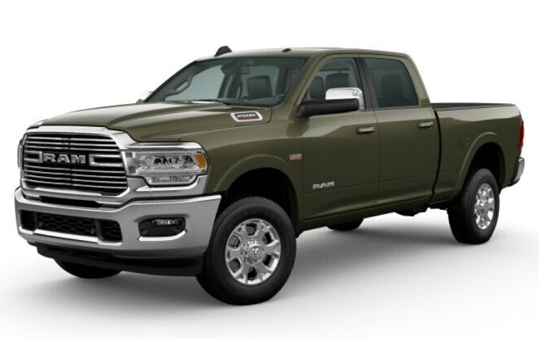 Olive Green Pearl 2020 Ram 2500 on White Background