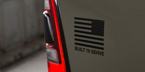 Close Up of 2020 Ram 1500 Built to Serve Edition Flag Decal and Taillight