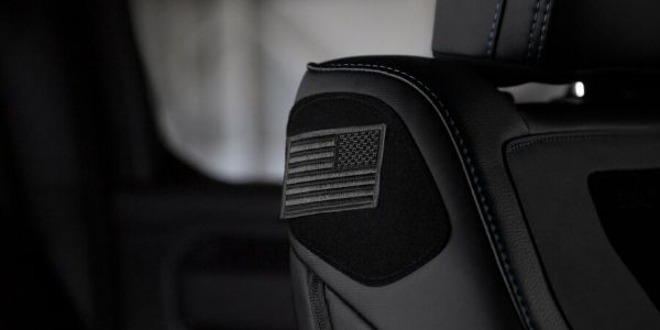 Velcro Built to Serve Flag Patch on Front Seat of 2020 Ram 1500 Built to Serve Edition