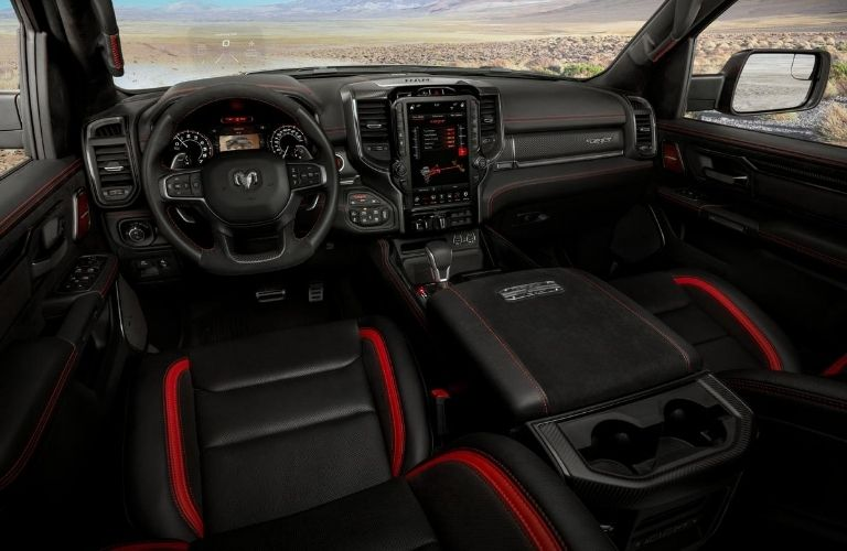 Red and Black 2021 Ram 1500 Front Seat Interior