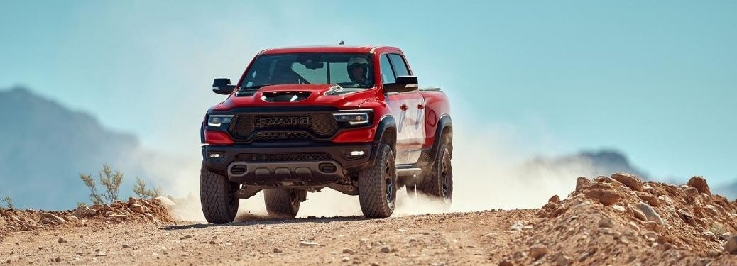 Red 2021 Ram 1500 TRX Front Exterior on a Desert Trail