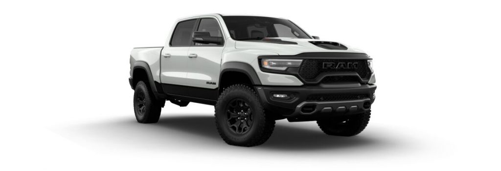 Bright White 2021 Ram 1500 TRX with Diamond Black Crystal Pearl Accents