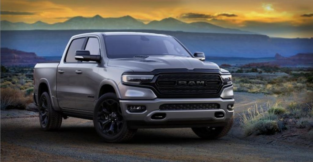 2021 RAM 1500 exterior front fascia passenger side with mountain background