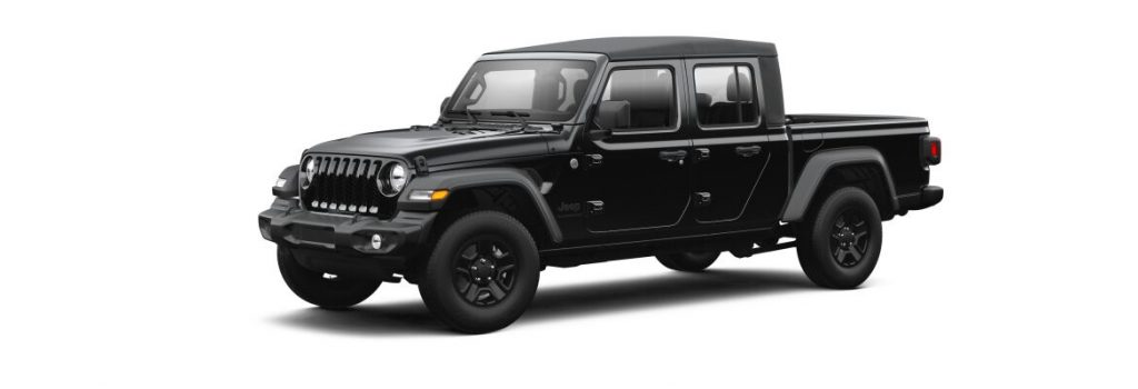 Black 2021 Jeep Gladiator on White Background