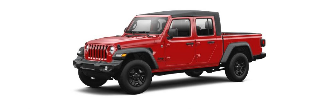 Firecracker Red 2021 Jeep Gladiator on White Background