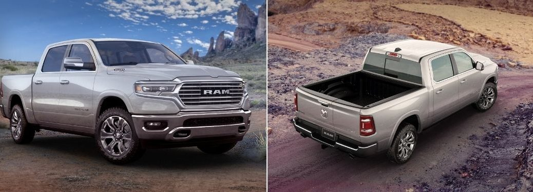 Silver 2021 Ram 1500 Limited Longhorn 10th Anniversary Edition Front and Rear Exterior on a Desert Trail