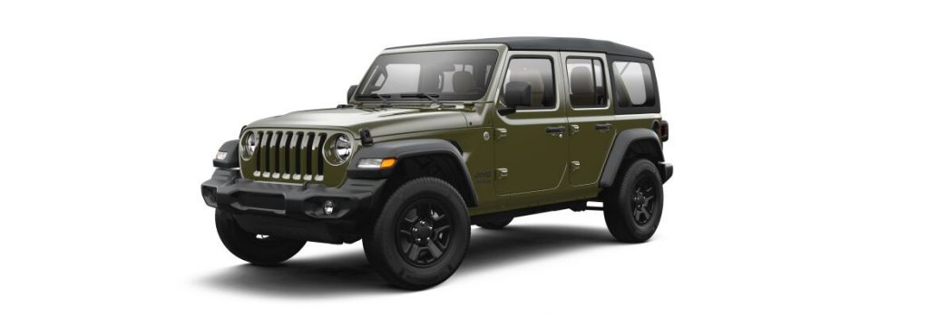 Sarge Green 2021 Jeep Wrangler on White Background