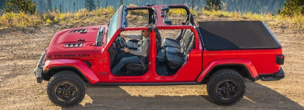 Red 2021 Jeep Gladiator Side Exterior with Roof and Doors Removed