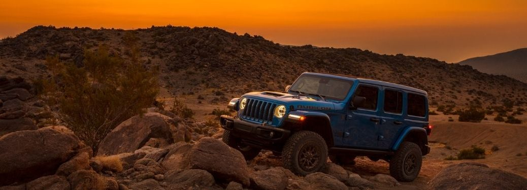 Blue 2021 Jeep Wrangler Rubicon 392 on a Desert Trail at Sunset