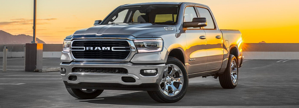 2019 RAM 1500 parked outside at sunset