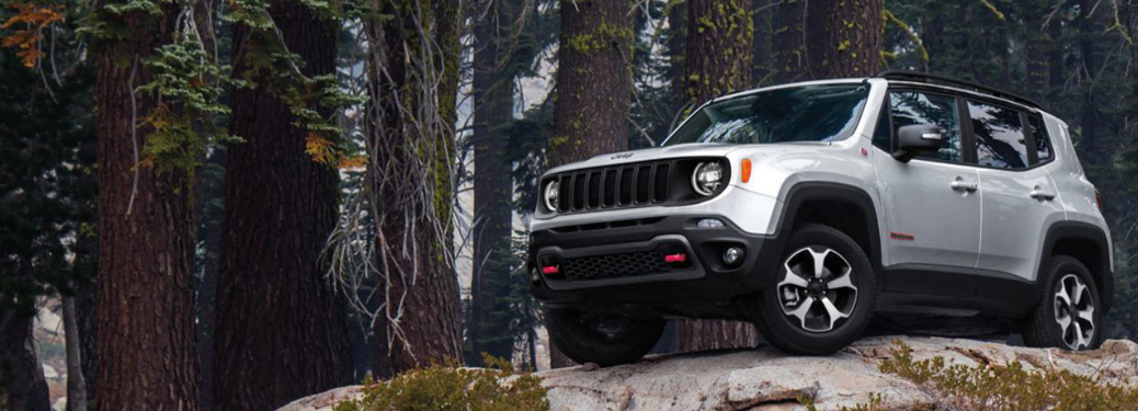 2020 Jeep Renegade parked on rocks in woods