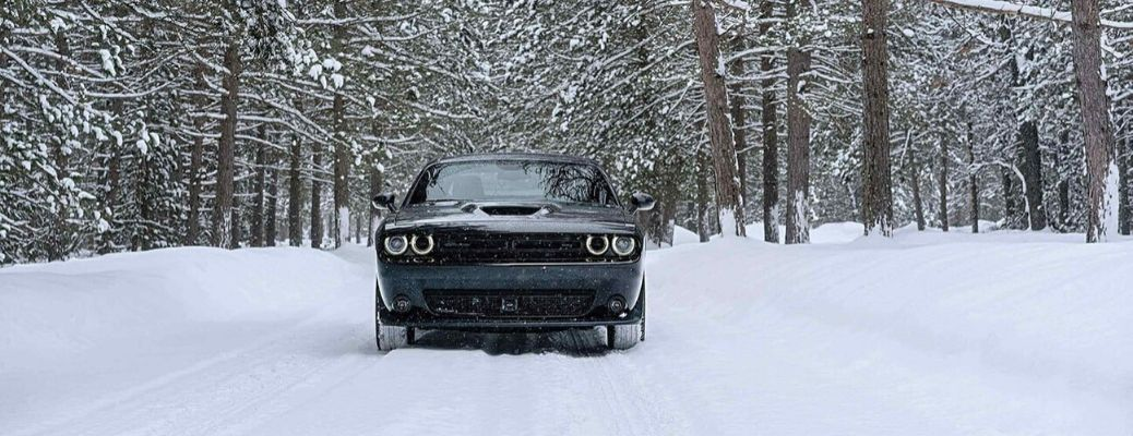 2020 Dodge Challenger driving on the snow