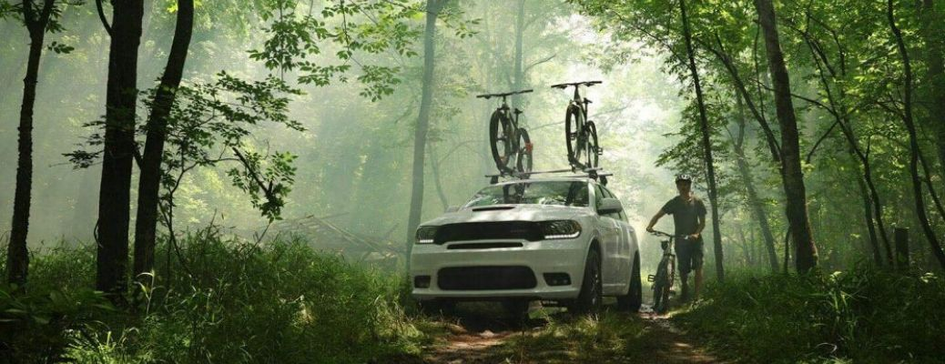 2020 Dodge Durango driving through the forest