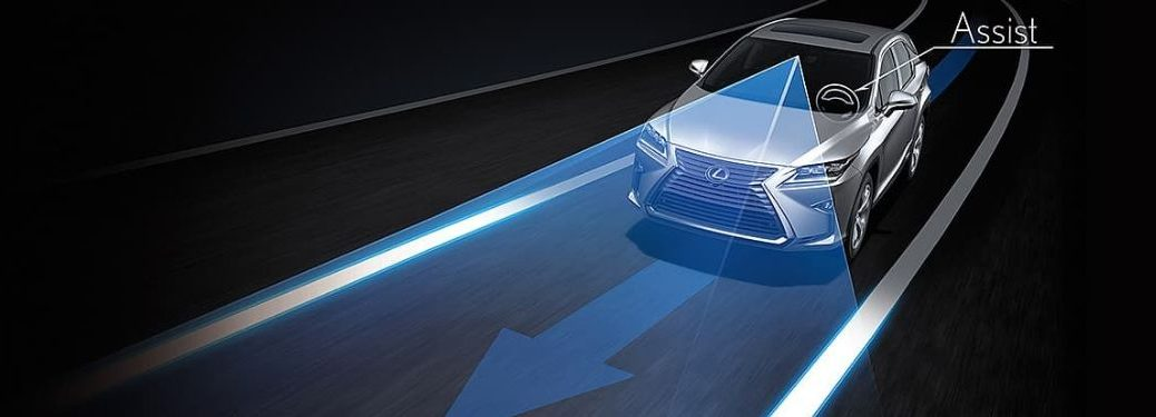 Lexus sedan on road with Lane Tracing Assist feature graphic