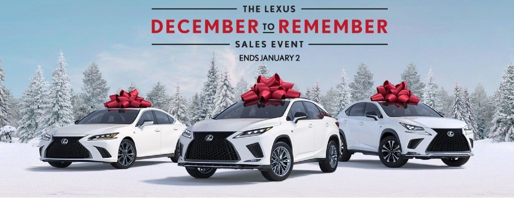 """Three Lexus models in a row with the text """"the Lexus December to Remember Sales Event - End January 2"""""""