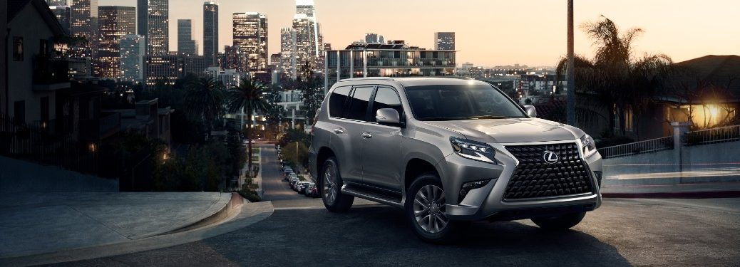 2021 Lexus GX on street with city in background
