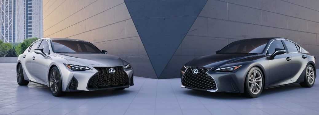 Two 2021 Lexus IS models from exterior front
