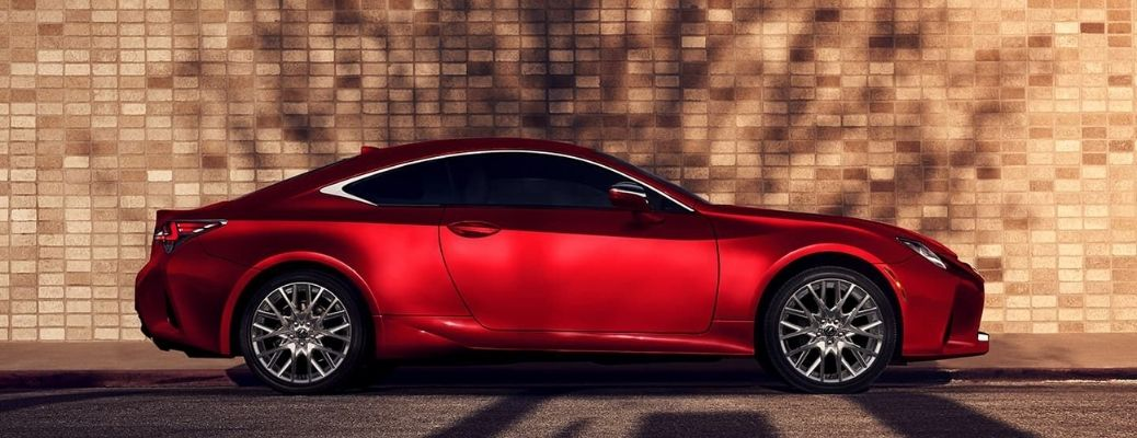 2021 Lexus RC 350 in red parked before a building