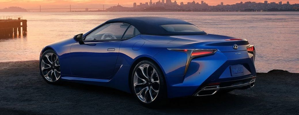 2021 Lexus LC 500 in blue before a water body