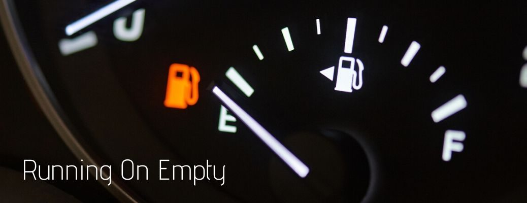 Running on empty text with empty fuel gauge displayed