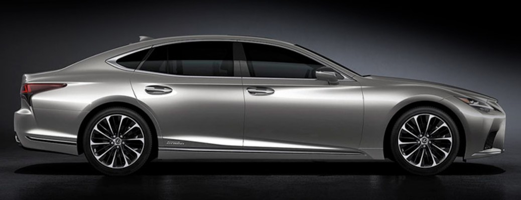 The side view of a 2021 Lexus LS hybrid vehicle