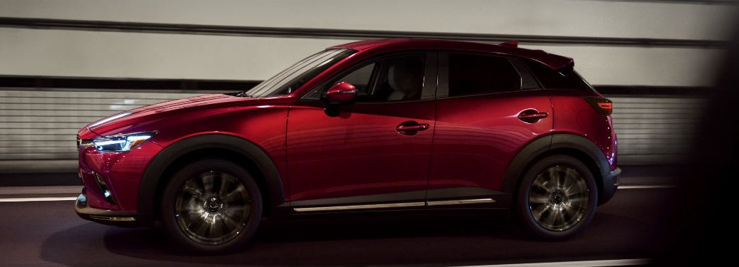 side view of a red 2019 Mazda CX-3
