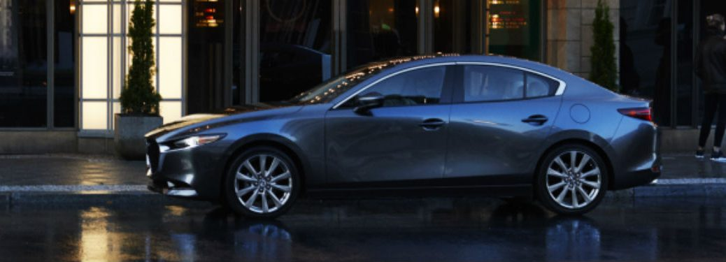 side view of a silver 2019 Mazda3