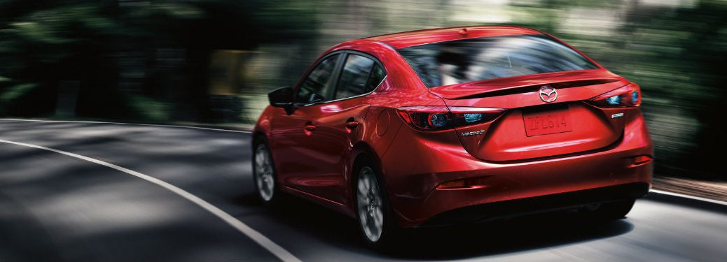 rear view of a red 2018 Mazda3