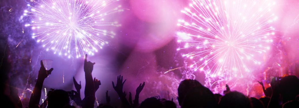 Fireworks display and crowd