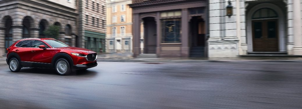 2020 Mazda CX-30 safely cruising down the street
