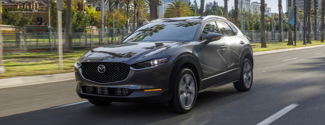 Front view of grey 2020 Mazda CX-30 on the road