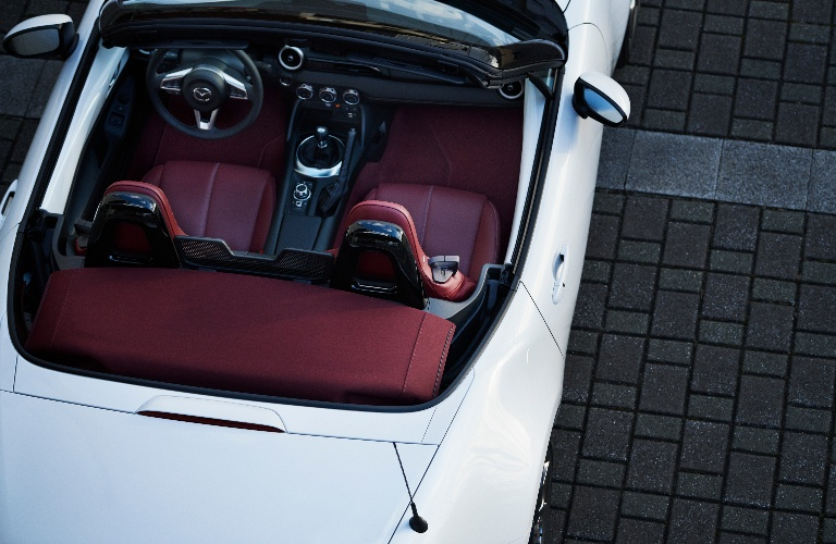 Bird's eye view of the 100 year anniversary Mazda MX-5 Convertible with the top down