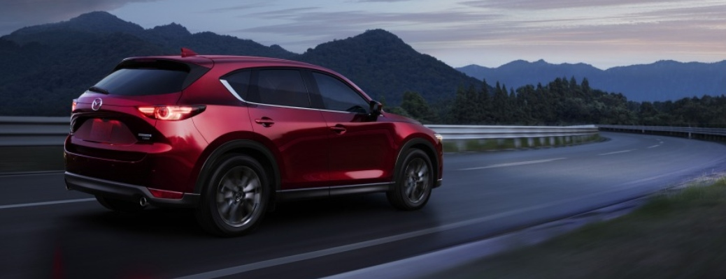 2021 Mazda CX-5 heading towards a curve in the road