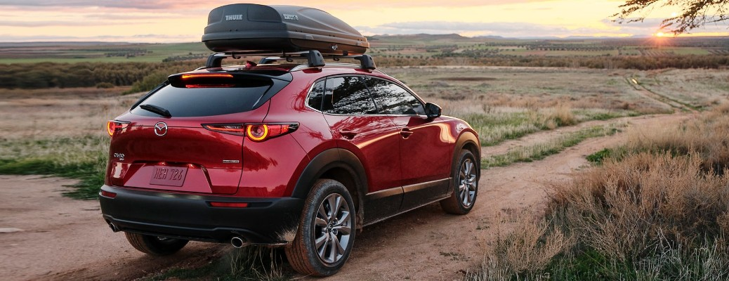 2021 Mazda CX-30 with box on top off the beaten path
