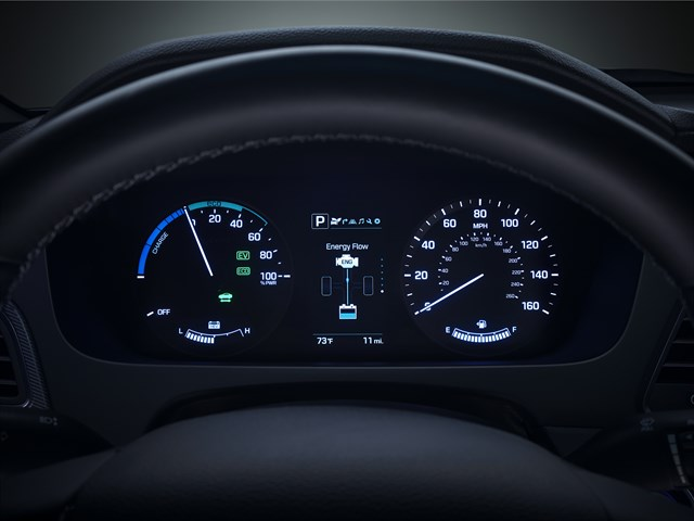 Dashboard gauges of the 2017 Hyundai Sonata Hybrid